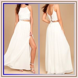 Midnight Memories White Lace 2 Piece Maxi Dress